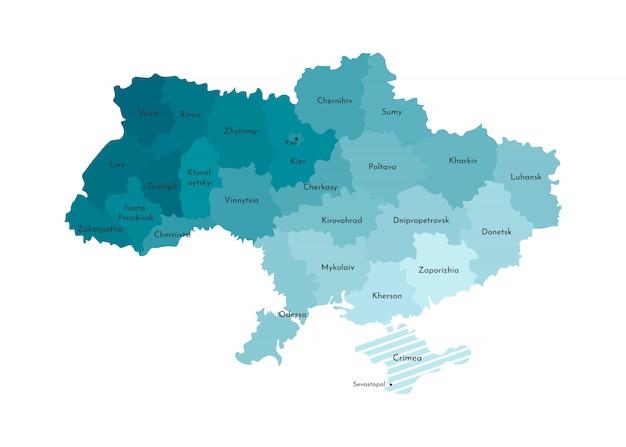 Vector a ilustração isolada do mapa administrativo simplificado da ucrânia Vetor Premium