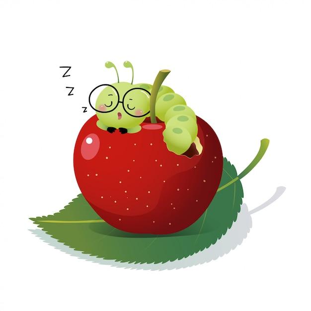 Vector a ilustração lagarta bonito dos desenhos animados de óculos e dormindo em uma maçã. Vetor Premium