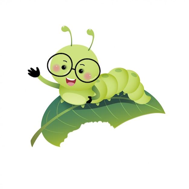 Vector a ilustração lagarta bonito dos desenhos animados de óculos e mostrando a mão na folha. Vetor Premium