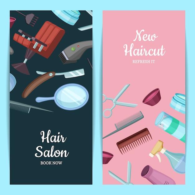 Vector a ilustração vertical do cartão ou do inseto com elementos dos desenhos animados do cabeleireiro ou do barbeiro. Vetor Premium
