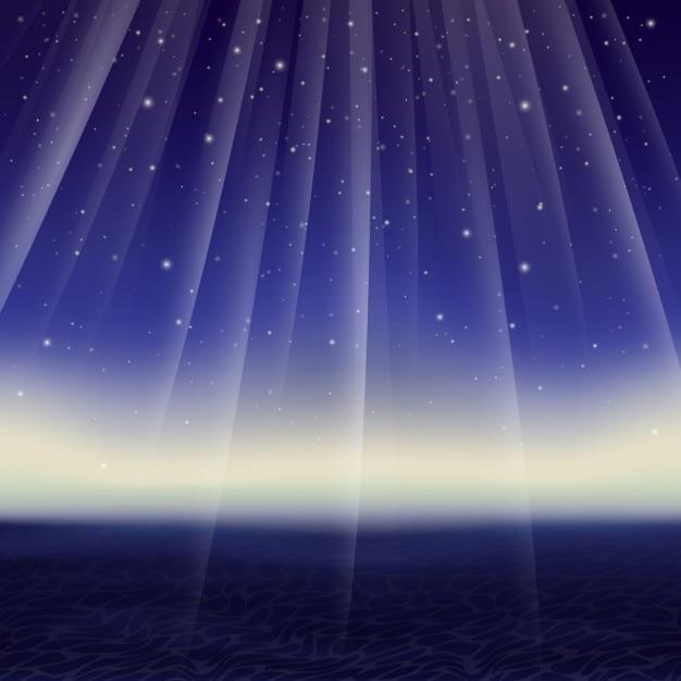 Vector abstract starry night e do mar Vetor grátis