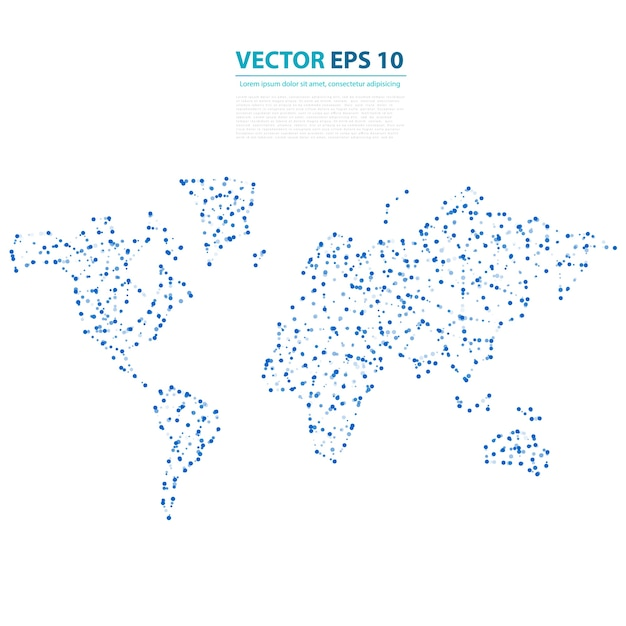 Vector abstract telecommunication earth map. Vetor grátis