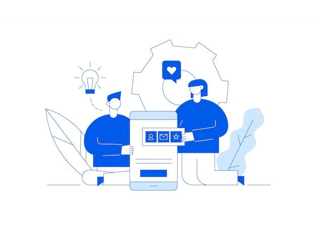Vector aplicativo móvel ou ilustração de processo de desenvolvimento de site Vetor Premium