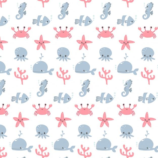 Vector bonito de design de desenhos animados de padrão de animais de aquário para menina e menino Vetor Premium