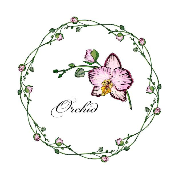 Vector brilhante arranjo de flores de orquídeas Vetor Premium