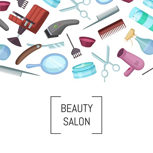 Vector cabeleireiro ou barbeiro fundo de elementos dos desenhos animados com lugar para ilustração de texto Vetor Premium