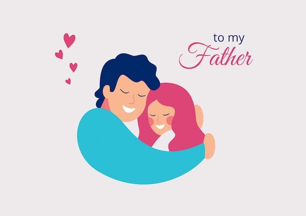 Vector cartão feliz dia dos pais. sorrindo jovem pai abraçando sua filha com amor Vetor Premium