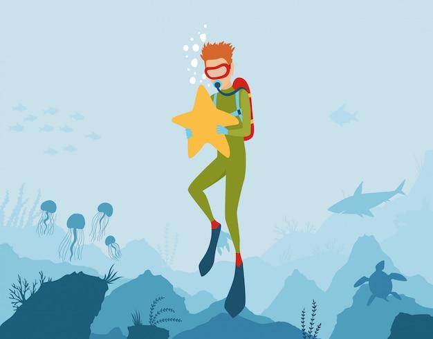 Vector cartoon estilo fundo subaquático com flora e fauna do mar Vetor Premium
