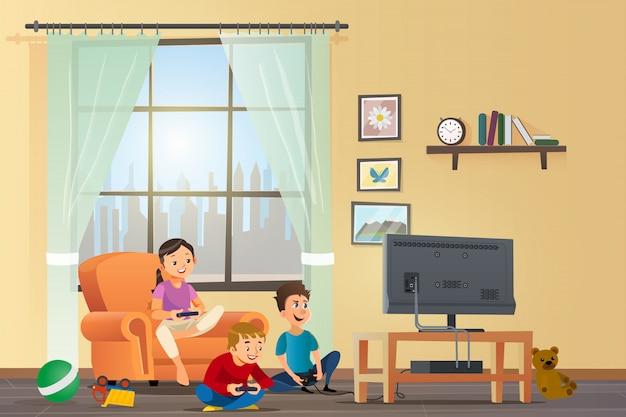 Vector cartoon illustration concept crianças felizes Vetor Premium