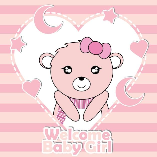 Vector cartoon illustration with cute baby bear girl on stars e moon vector cartoon illustration with cute baby bear girl on stars e moon frame apropriado para baby stopboris Image collections