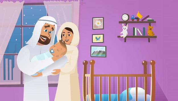 Vector cartoon ilustração conceito feliz pai Vetor Premium
