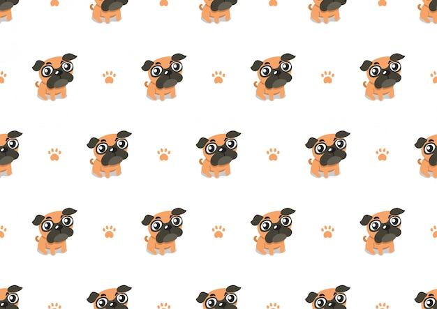 Vector cartoon personagem pug cachorro sem costura de fundo Vetor Premium