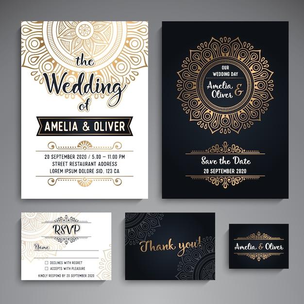 Vector, casório, cartões, vindima, decorativo, elementos, com, mandala Vetor grátis