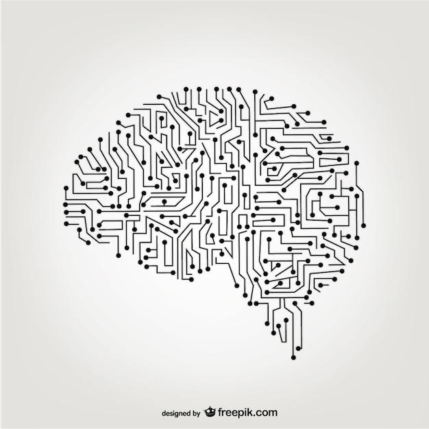 Vector cérebro artificial Vetor Premium
