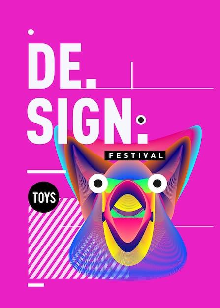 Vector colorful poster design template para brinquedos e hobby festival Vetor Premium