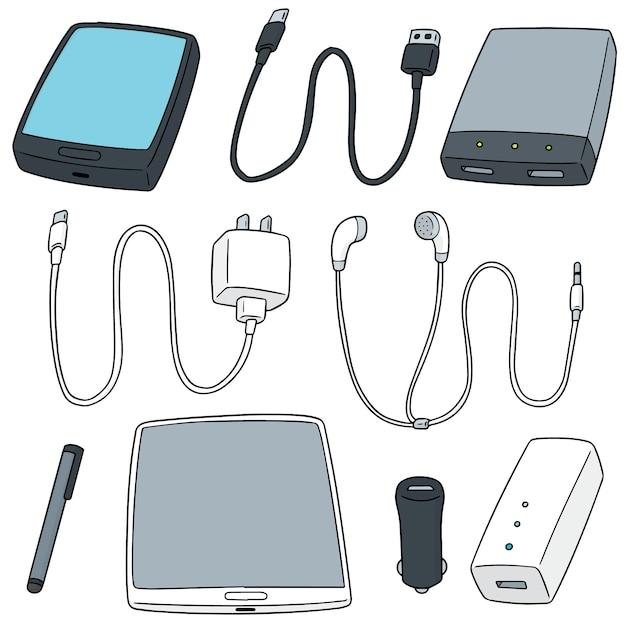 Vector conjunto de acessórios para dispositivos móveis Vetor Premium