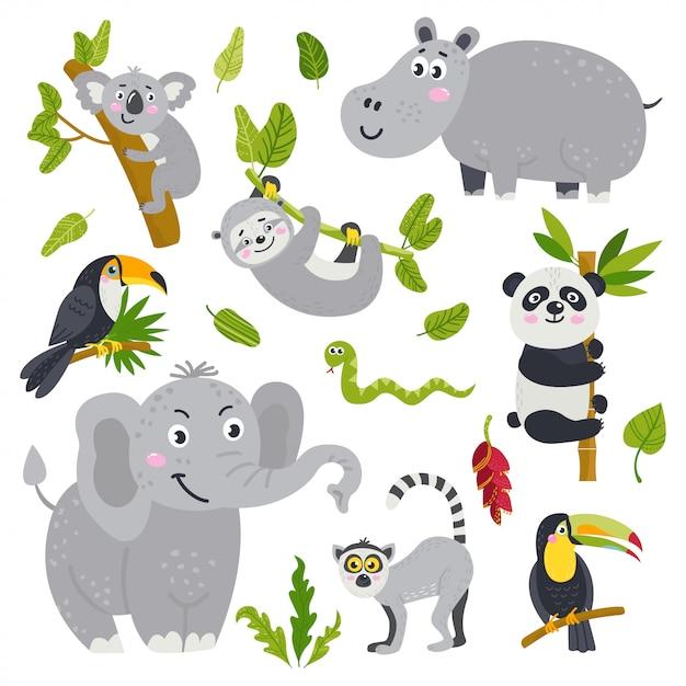 Vector conjunto de animais fofos da selva Vetor Premium
