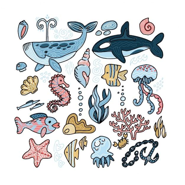 Vector conjunto de animais marinhos Vetor Premium