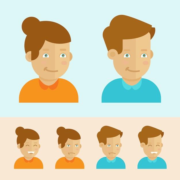 Vector conjunto de avatares plana dos desenhos animados Vetor Premium