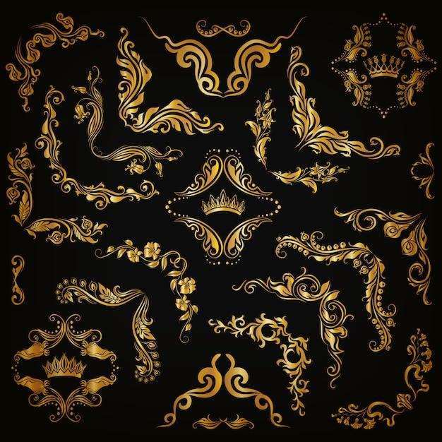 Vector conjunto de bordas decorativas de ouro Vetor Premium