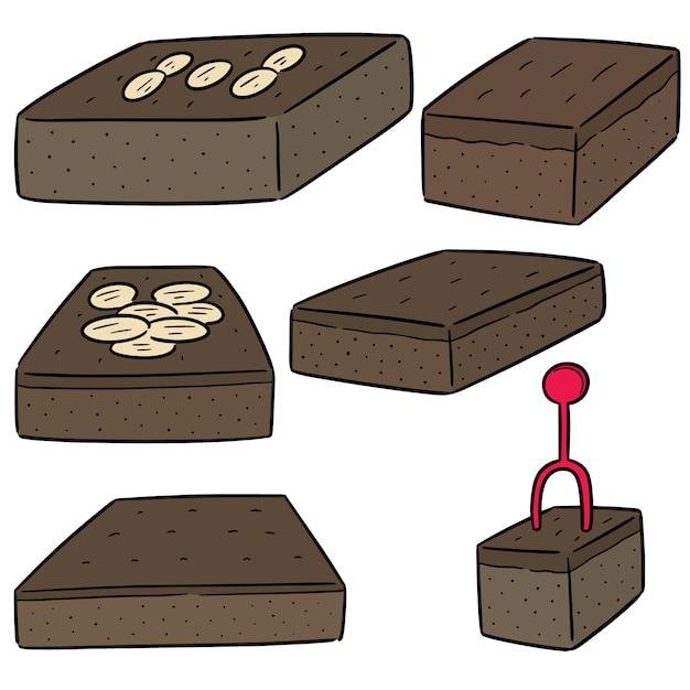 Vector conjunto de brownies Vetor Premium