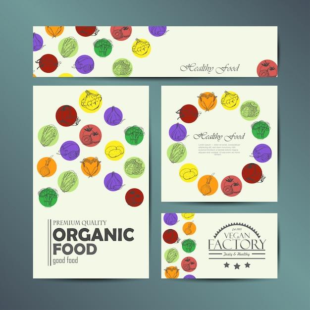 Vector conjunto de cartões com legumes Vetor Premium