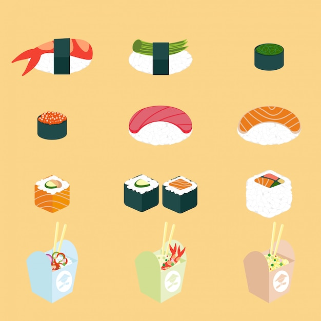 Vector conjunto de comida panasian. cozinha chinesa e japonesa Vetor Premium
