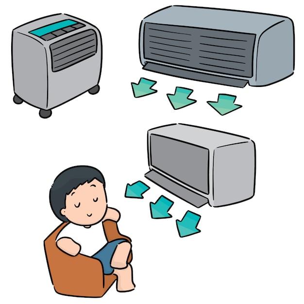 Vector conjunto de condicionador de ar Vetor Premium