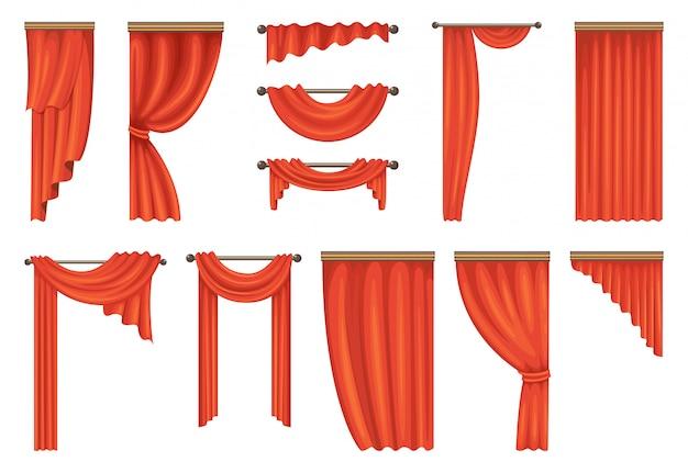 Vector conjunto de cortinas vermelhas de teatro Vetor Premium