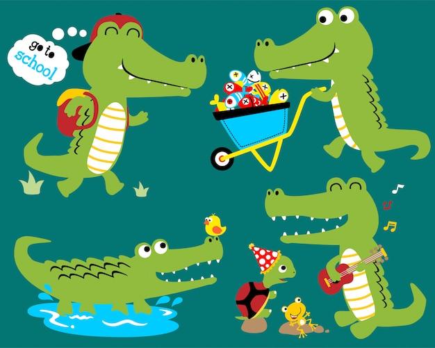 Vector conjunto de desenhos animados de crocodilo engraçado Vetor Premium
