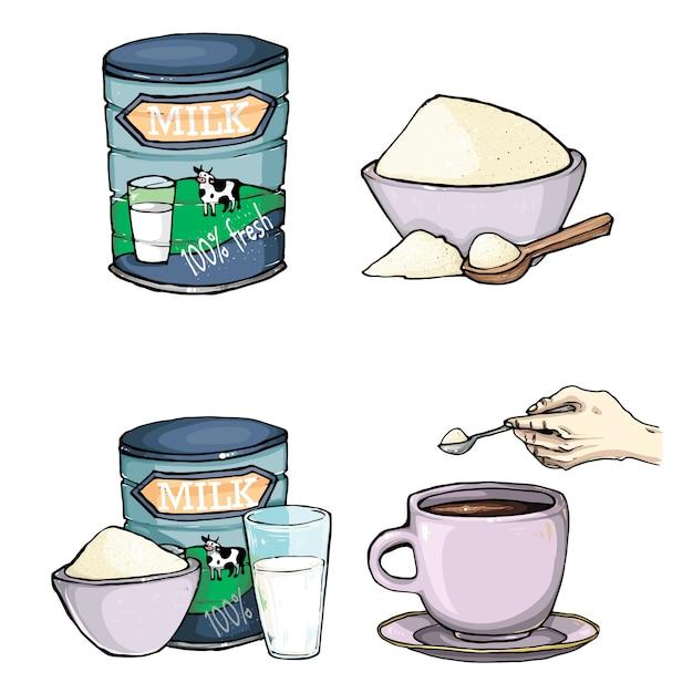 Vector conjunto de desenhos animados ilustração do leite em pó Vetor grátis