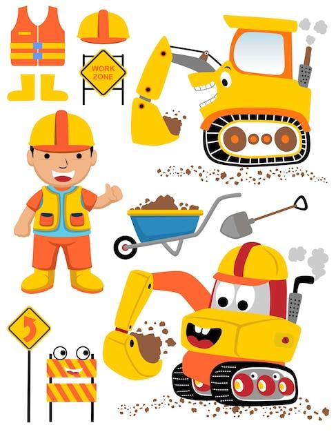 Vector conjunto de equipamentos de construção com trabalhador engraçado Vetor Premium