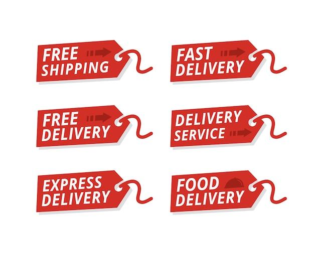 Vector conjunto de etiquetas de serviço de entrega Vetor Premium