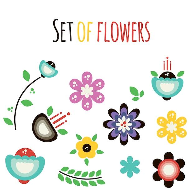 Vector conjunto de flores abstratas planas Vetor Premium