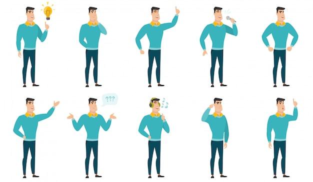 Vector conjunto de ilustrações com pessoas de negócios. Vetor Premium