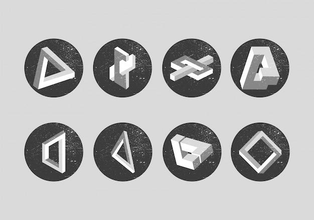 Vector conjunto de objetos impossíveis Vetor Premium