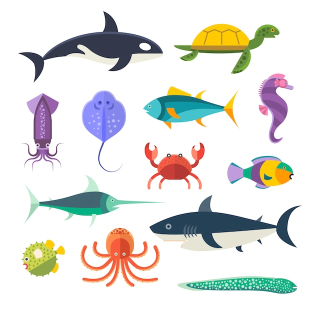 Vector conjunto de peixes marinhos e animais marinhos Vetor Premium
