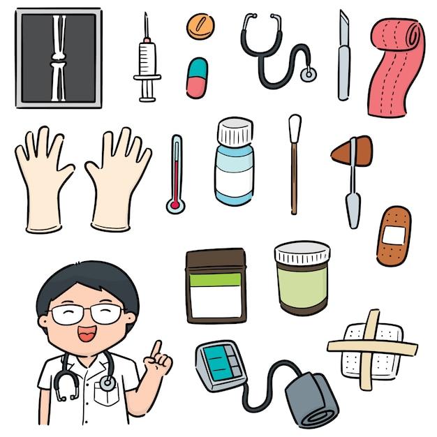 Vector conjunto de pessoal médico e equipamentos médicos Vetor Premium