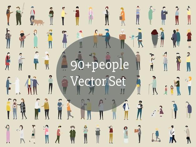 Vector conjunto de pessoas ilustradas Vetor grátis