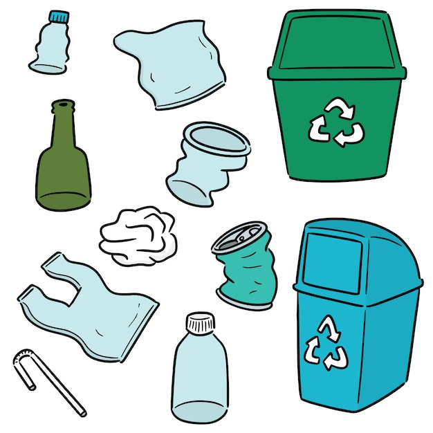 Vector conjunto de reciclagem de lixo e reciclar item Vetor Premium