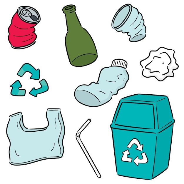 Vector conjunto de reciclagem de lixo Vetor Premium