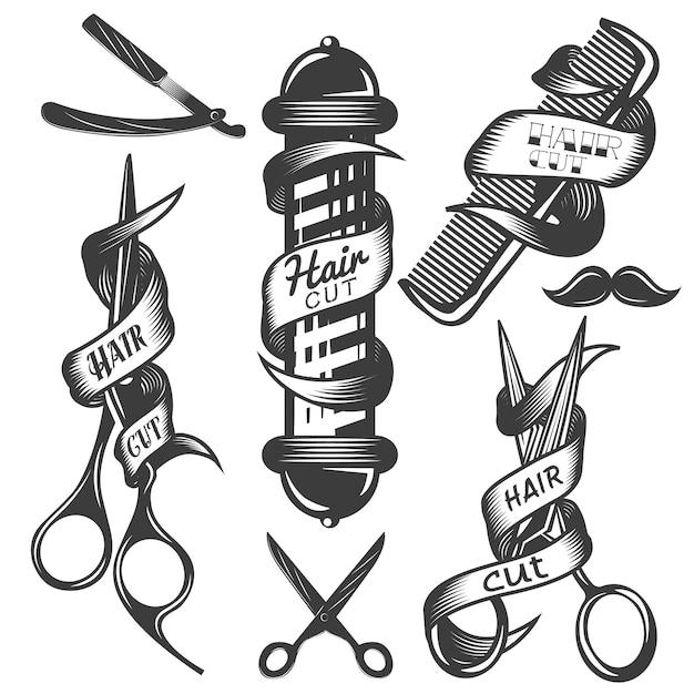 Vector conjunto de rótulos de vetor de salão de cabelo em estilo vintage Vetor Premium