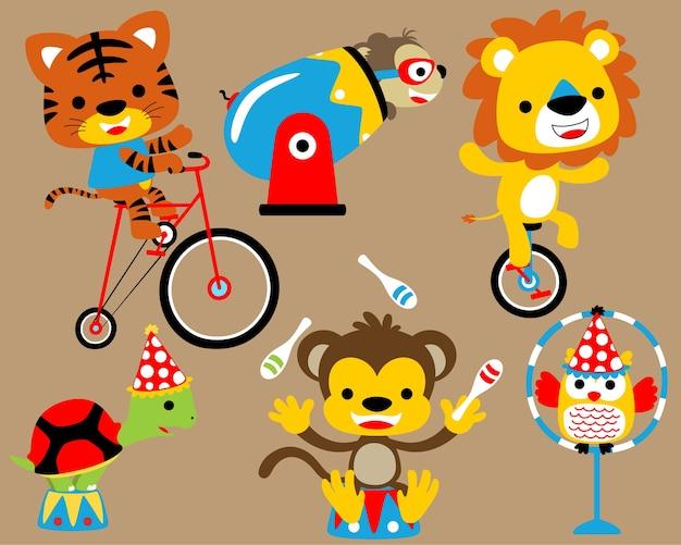 Vector conjunto de show de circo com desenhos animados engraçados de animais Vetor Premium