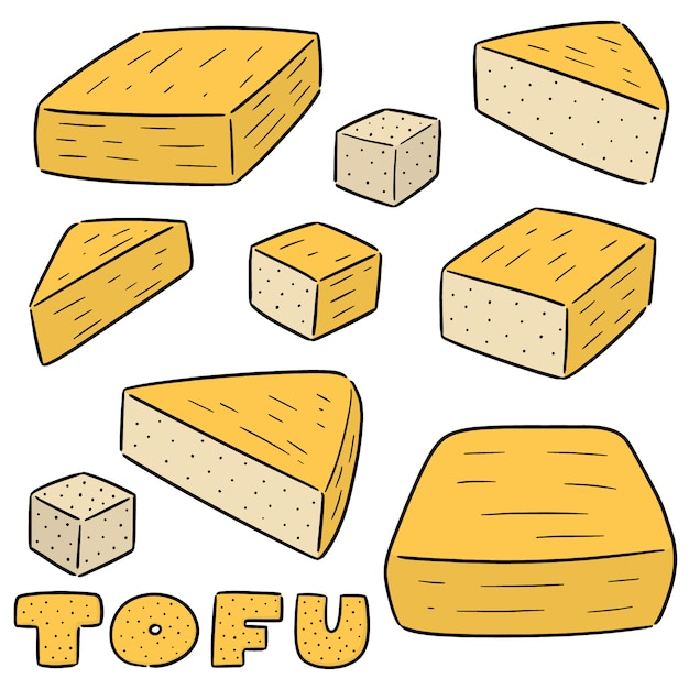 Vector conjunto de tofu Vetor Premium