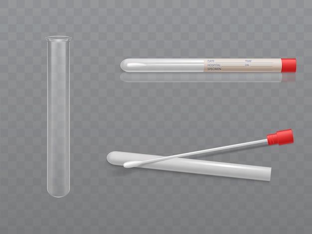 Vector conjunto médico para análise - q-tip com cotonete e tubo de ensaio Vetor grátis
