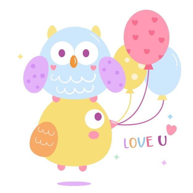 Vector coruja bonito com desenhos animados de balão Vetor Premium