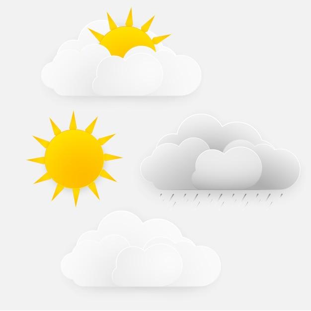 Vector design de época do tempo, sol com nuvens e chuva Vetor Premium