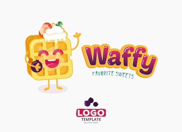 Vector design de modelo de logotipo de comida. waffles de bélgica com sorvete e morangos isolados Vetor Premium