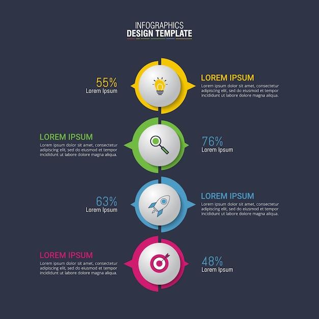 Vector design infográfico para visualização de dados de negócios Vetor Premium