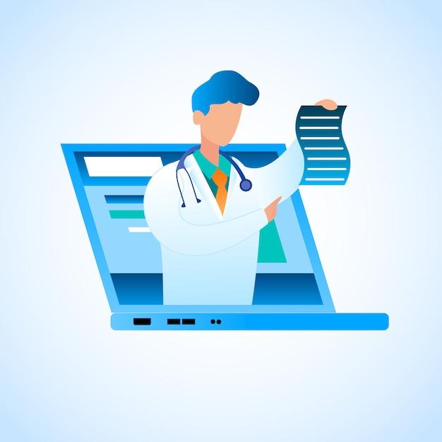 Vector doctor escreve o tratamento on-line de prescrição. ilustração médico do sexo masculino em vestido de médico branco, monitor de laptop de tela colocada, detém em seu papel de mão com prescrição para tratar o paciente de doença Vetor Premium
